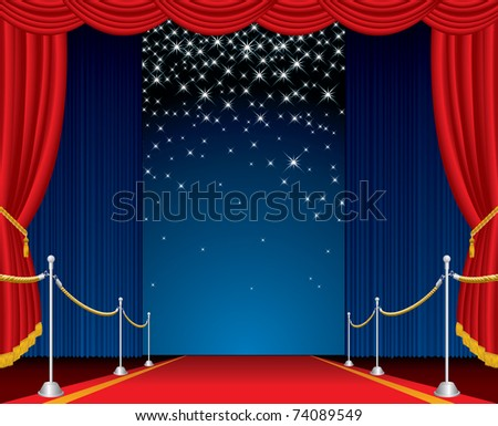 vector opened stage with red carpet and falling stars - stock vector