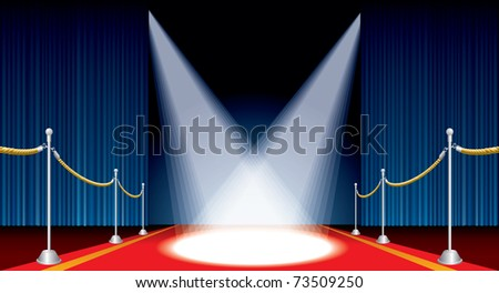 vector opened stage with red carpet and spotlights - stock vector