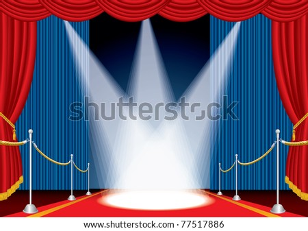vector opened stage with red carpet and three spotlights - stock vector