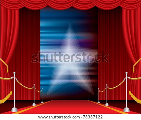 vector opened stage with red curtain and blurry star - stock vector