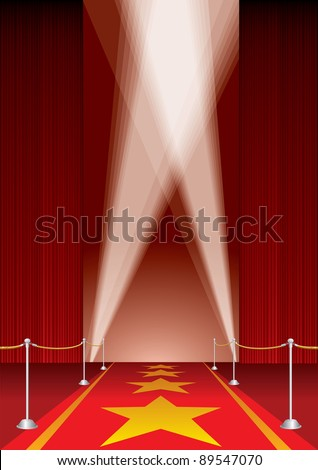vector opened stage with red curtain and stars on red carpet - stock vector