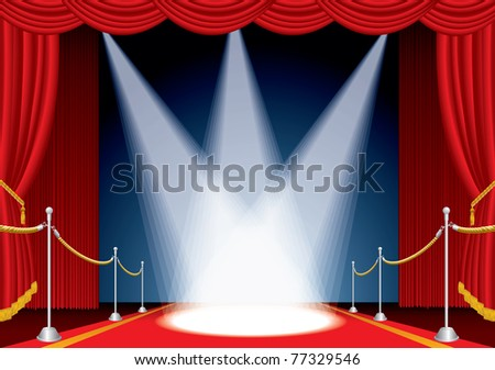 vector opened stage with red curtain and three spotlights - stock vector