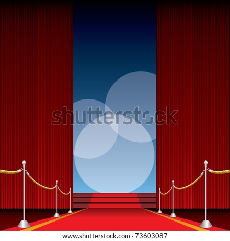 vector opened stage with red curtain and three spotlights, eps 10 file - stock vector