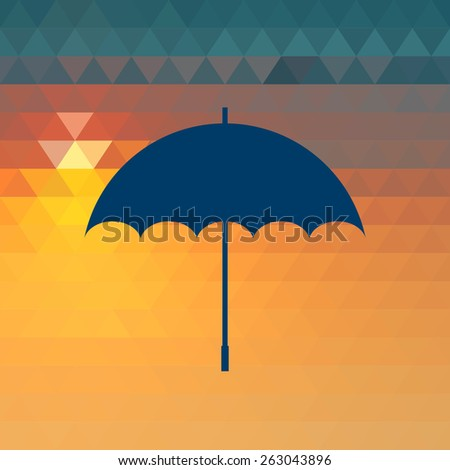 Vector opened umbrella on the sunset geometric background. - stock vector