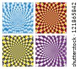 Vector Optical illusion Spin Cycle set - stock photo