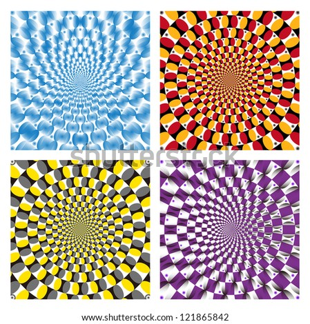 Vector Optical illusion Spin Cycle set - stock vector
