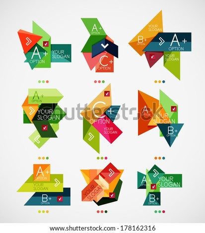 Vector option banners collection. Can be used as infographic template, business card design, abstract geometric symbols, multipurpose web elements - stock vector