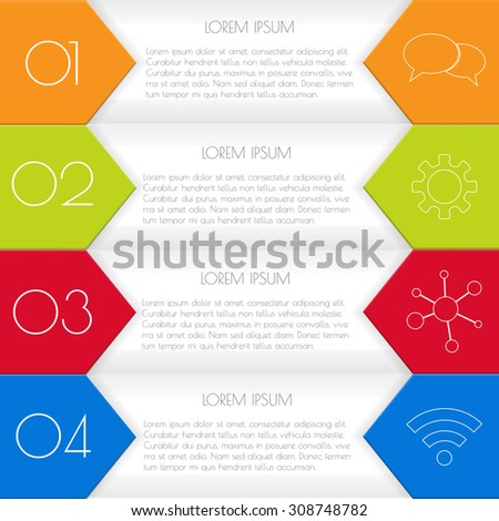 Vector option infographic banners. Number banners template for diagram, graph, presentation or chart. Business concept with 4 steps or processes. EPS10 vector workflow layout. - stock vector