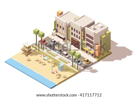 Vector or infographic element representing sea beach near the small town street with cars and buildings - stock vector