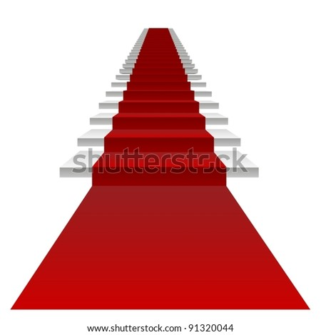 Vector or vectorial concept or conceptual 3D white stair and red carpet isolated on white background, for business,progress,growth,career,success,development,faith,religion or vision designs