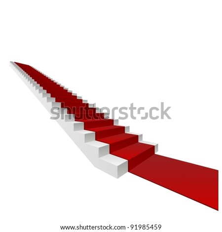 Vector or vectorial concept or conceptual 3D white stair and red carpet isolated on white background, for business,progress,growth,career,success,development,faith,religion or vision designs - stock vector
