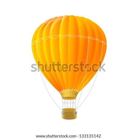 Vector orange air ballon isolated on white - stock vector