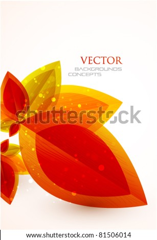 Vector orange autumn leaves background - stock vector