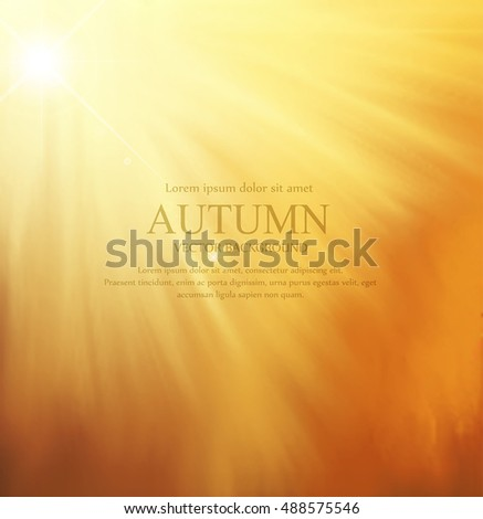 vector orange background with sun rays