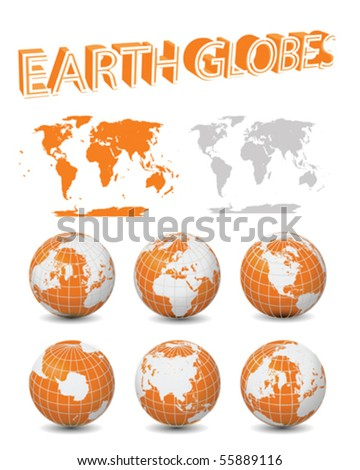 Vector Orange Earth Globes with maps collection - stock vector