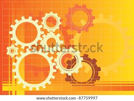 Vector orange gears background illustration - stock vector