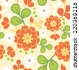 Vector orange kimono seamless pattern background with hand drawn colorful flowers. - stock vector