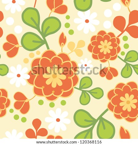Vector orange kimono seamless pattern background with hand drawn colorful flowers.
