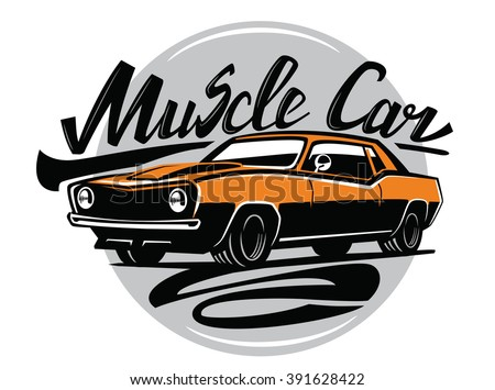 Vector Orange Muscle Car Icon On Stock Vector Shutterstock
