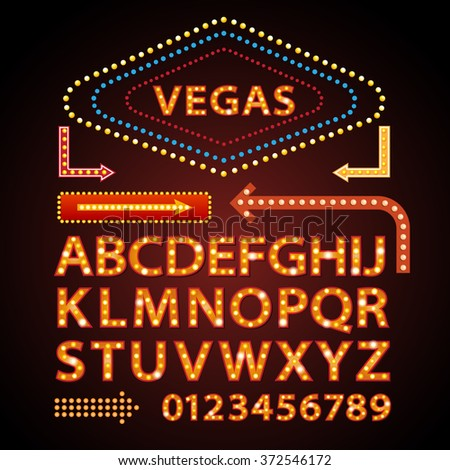 Vector orange neon lamp letters font show cinema and theater - stock vector