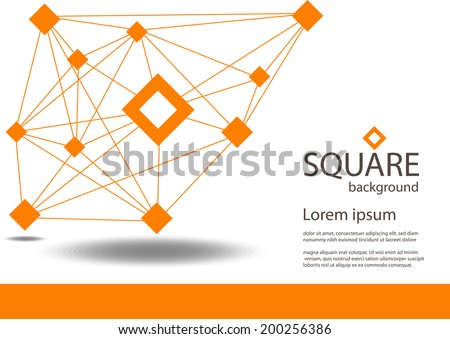 vector Orange square  and Communication Background - stock vector