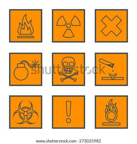 vector orange square black outline hazardous waste symbols warning signs icons 