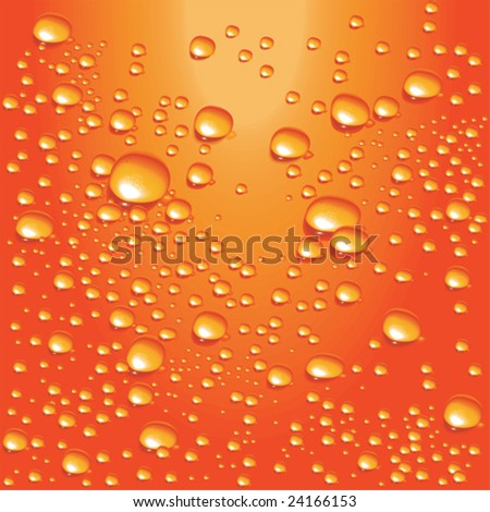 Vector orange water bubbles - stock vector