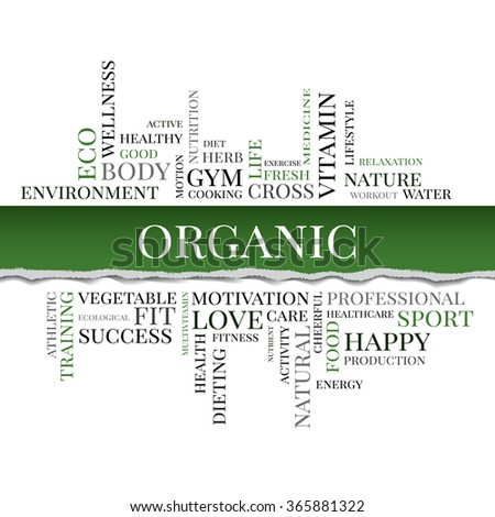 Vector ORGANIC concept related words in tag cloud isolated on green background with different association healthy terms. The effect of torn paper - stock vector