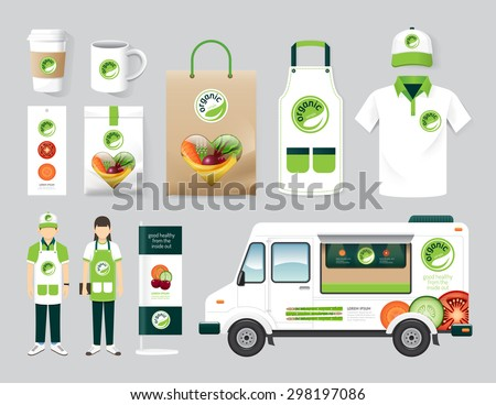 Vector organic health shop design set street food truck, menu, package, t-shirt, cap, uniform and display design/ layout set of corporate identity mock up template. - stock vector