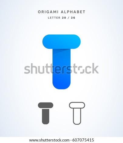 Vector Origami Alphabet Letter T Logo Template