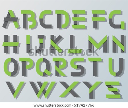 VECTOR ORIGAMI ALPHABET STYLE WITH SHADOWS GREEN