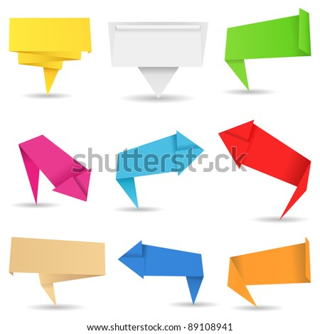 Vector Origami Arrows and Banners - stock vector