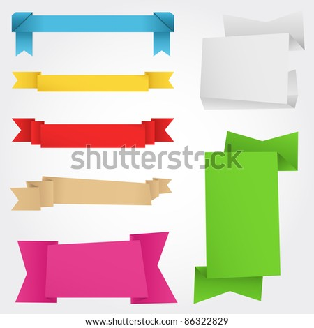 Vector Origami Banners - stock vector