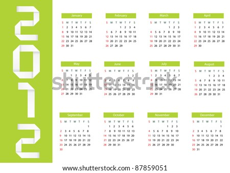 Vector origami 2012 calendar. Eps 10 - stock vector