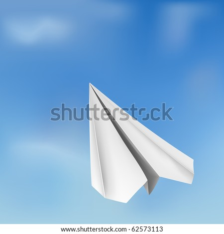 vector origami flying airplane - stock vector