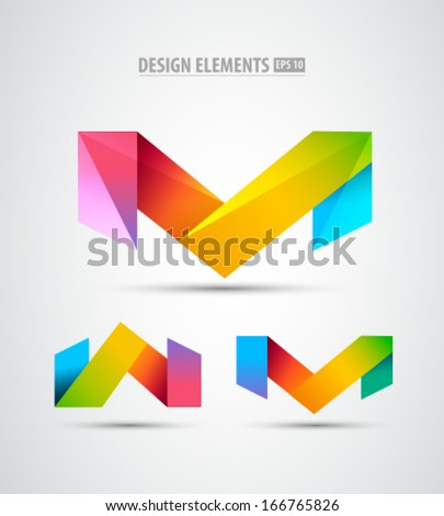 Vector origami icons. Design elements. Abstract logo icons - stock vector