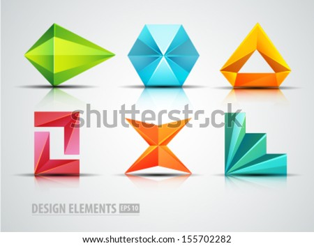 Vector Origami Icons Design Elements Diamond Abstract Logo