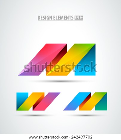 Vector origami logo. Design elements. Abstract business icons. Letter M - stock vector