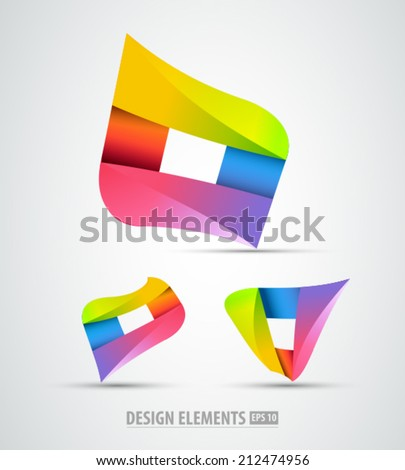 Vector origami logo icons. Logo elements. Abstract  icons on white background - stock vector