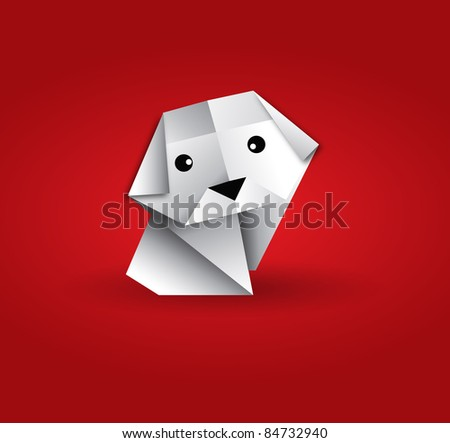 vector origami lonely dog - stock vector