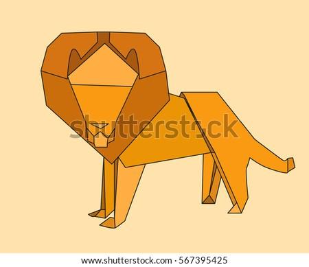 Vector Origami Paper Lion