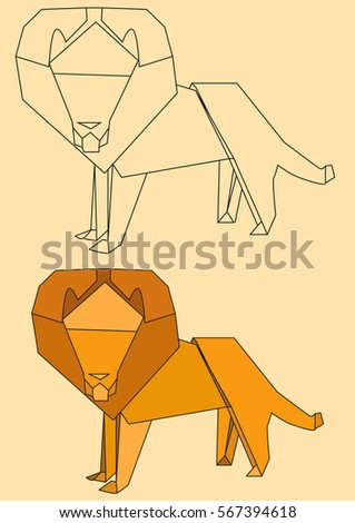 Vector Origami Paper Lion The Outlines Of A