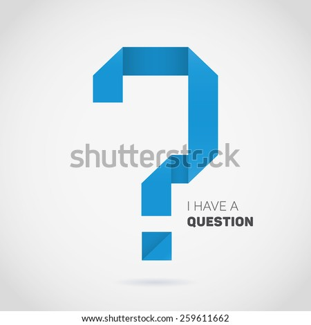 Vector origami question mark. Blue symbol folded of paper.  - stock vector