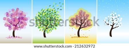 Vector original abstract trees in four seasons. Vector illustration set. - stock vector
