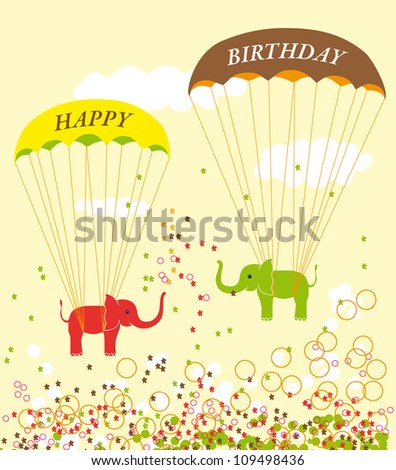 Vector Original Funny Birthday card with Parachuting Elephants and bubbles on yellow background - stock vector