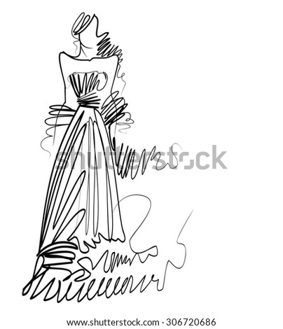 VECTOR original hand-drawn graphics with beautiful young   girl model for design. Fashion, style, youth, beauty. Graphic, sketch drawing. Sexy woman.  groom, bride, clothes, dress. - stock vector