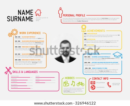 Vector original minimalist cv / resume template - creative version - stock vector