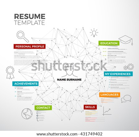 Vector original minimalist cv / resume template - creative version with colorful headings and icons - stock vector