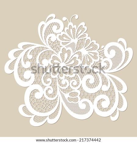 Vector ornament. Black lace ornament. - stock vector