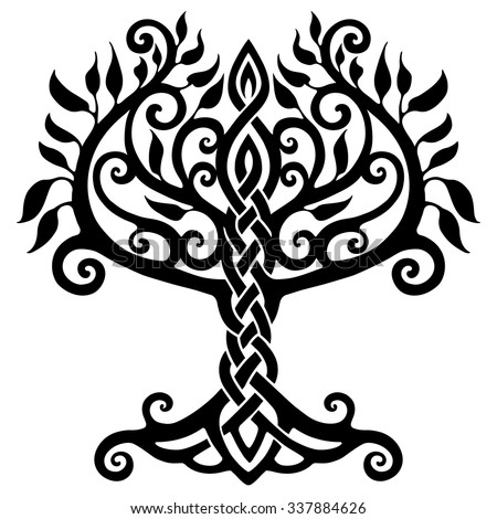 Vector ornament, decorative Celtic tree of life - stock vector
